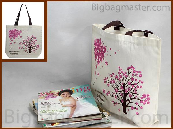 ถุงผ้าเกษียณอายุราชการ สกรีน RT1_04  ครู 2555 ลายดอกไม้ ต้นไม้