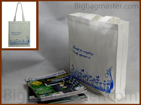ถุงผ้าเกษียณอายุราชการ สกรีน RT1_06   ลายทุ่งดอกไม้ ผีเสื้อ สีฟ้า 2562